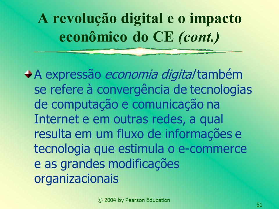 © 2004 by Pearson Education 51 A expressão economia digital também se refere à convergência de tecnologias de computação e comunicação na Internet e e