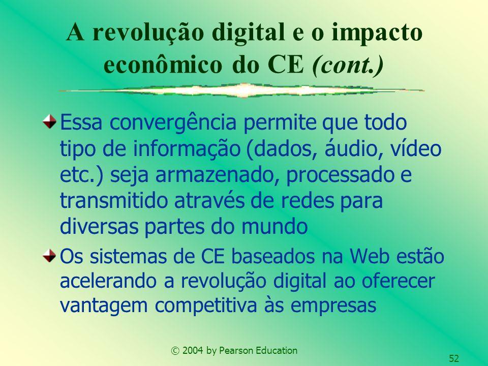 © 2004 by Pearson Education 52 Essa convergência permite que todo tipo de informação (dados, áudio, vídeo etc.) seja armazenado, processado e transmit