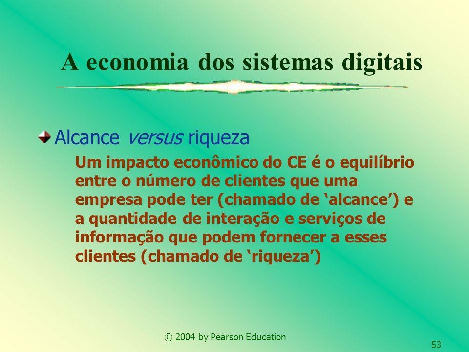 © 2004 by Pearson Education 53 A economia dos sistemas digitais Alcance versus riqueza Um impacto econômico do CE é o equilíbrio entre o número de cli