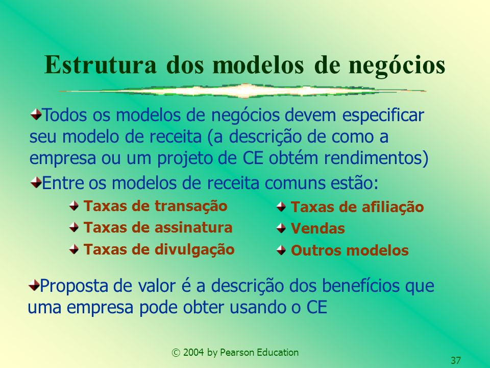 © 2004 by Pearson Education 37 Estrutura dos modelos de negócios Taxas de transação Taxas de assinatura Taxas de divulgação Taxas de afiliação Vendas