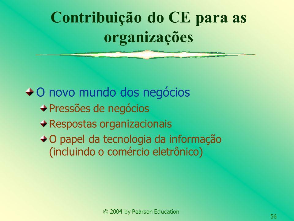 © 2004 by Pearson Education 56 Contribuição do CE para as organizações O novo mundo dos negócios Pressões de negócios Respostas organizacionais O pape