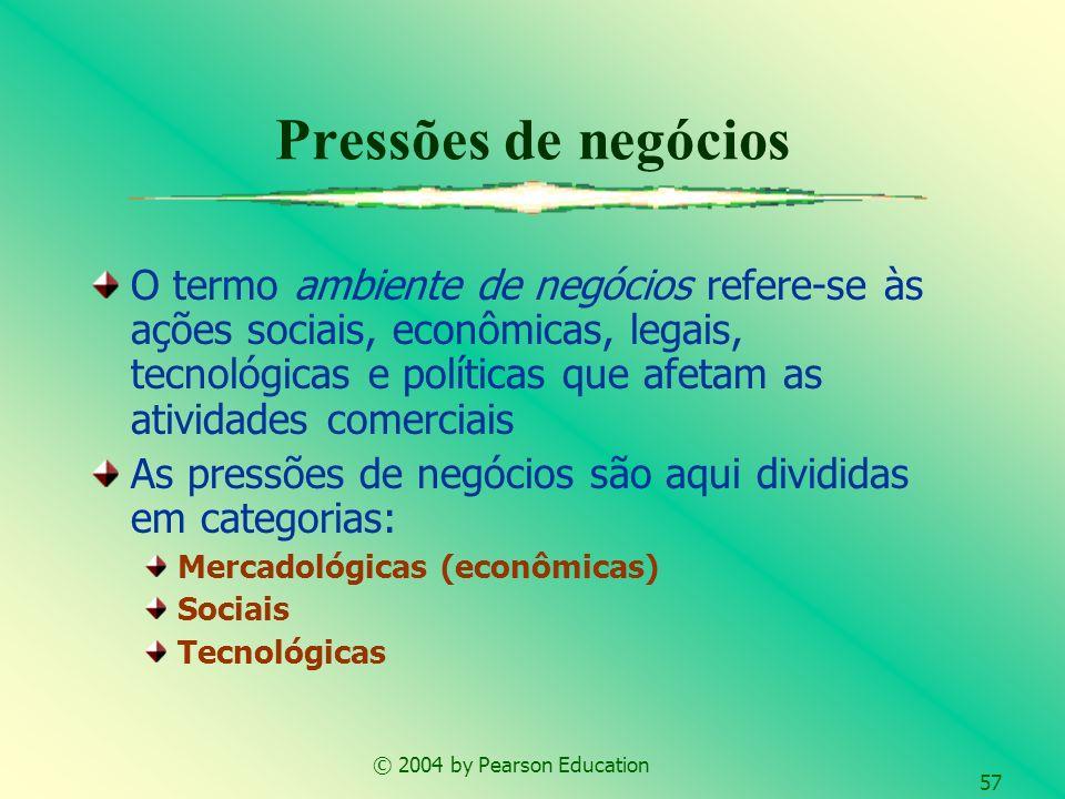 © 2004 by Pearson Education 57 Pressões de negócios O termo ambiente de negócios refere-se às ações sociais, econômicas, legais, tecnológicas e políti
