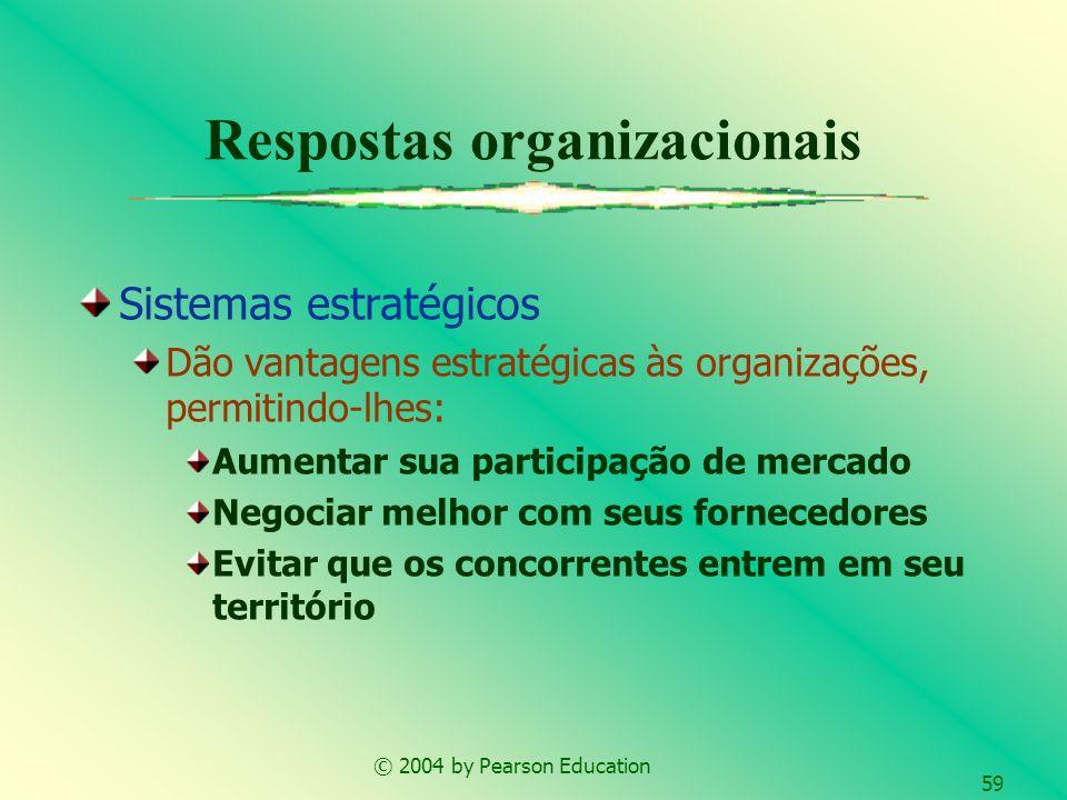 © 2004 by Pearson Education 59 Respostas organizacionais Sistemas estratégicos Dão vantagens estratégicas às organizações, permitindo-lhes: Aumentar s