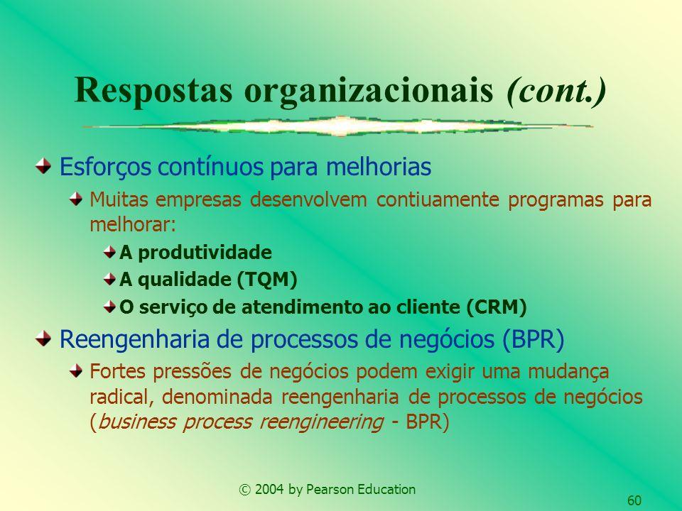 © 2004 by Pearson Education 60 Respostas organizacionais (cont.) Esforços contínuos para melhorias Muitas empresas desenvolvem contiuamente programas