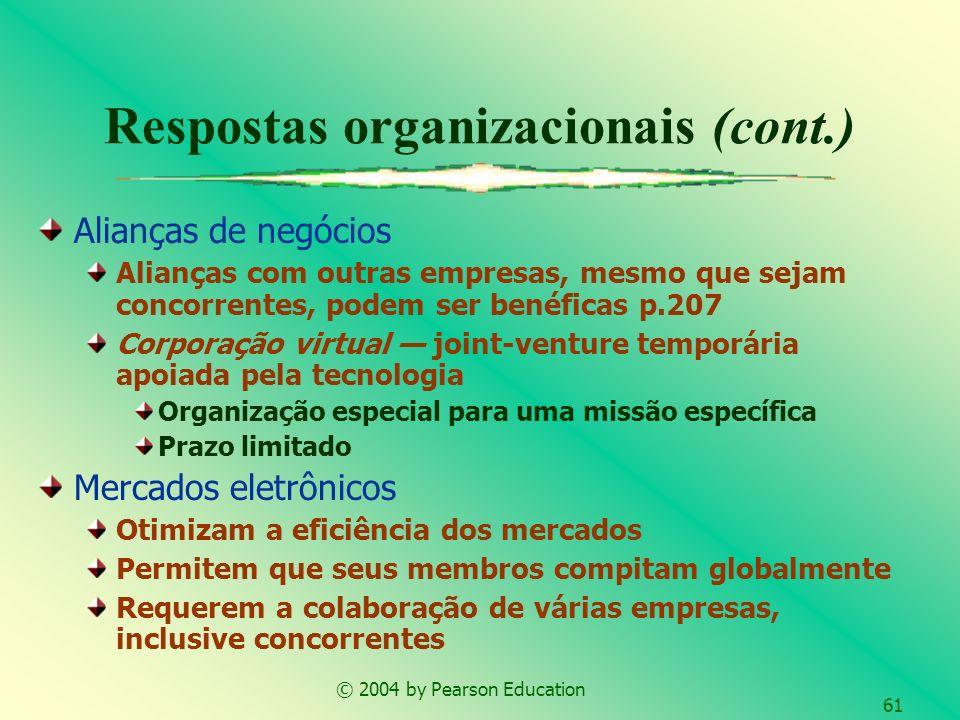 © 2004 by Pearson Education 61 Alianças de negócios Alianças com outras empresas, mesmo que sejam concorrentes, podem ser benéficas p.207 Corporação v