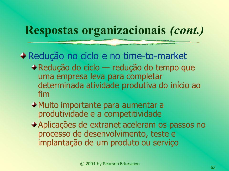 © 2004 by Pearson Education 62 Redução no ciclo e no time-to-market Redução do ciclo redução do tempo que uma empresa leva para completar determinada