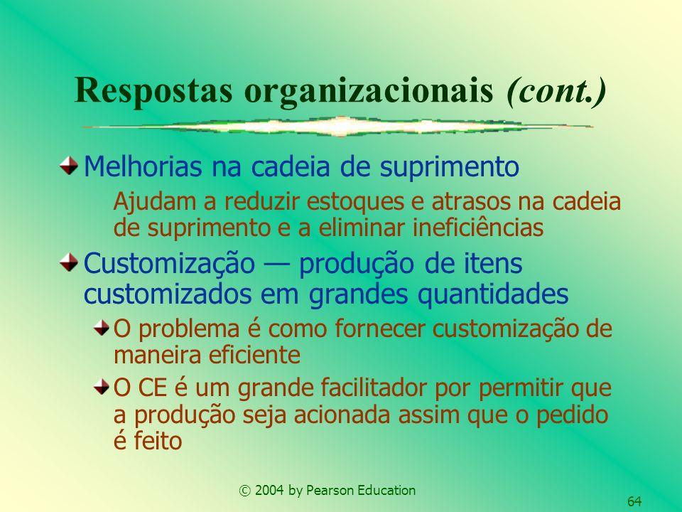 © 2004 by Pearson Education 64 Melhorias na cadeia de suprimento Ajudam a reduzir estoques e atrasos na cadeia de suprimento e a eliminar ineficiência