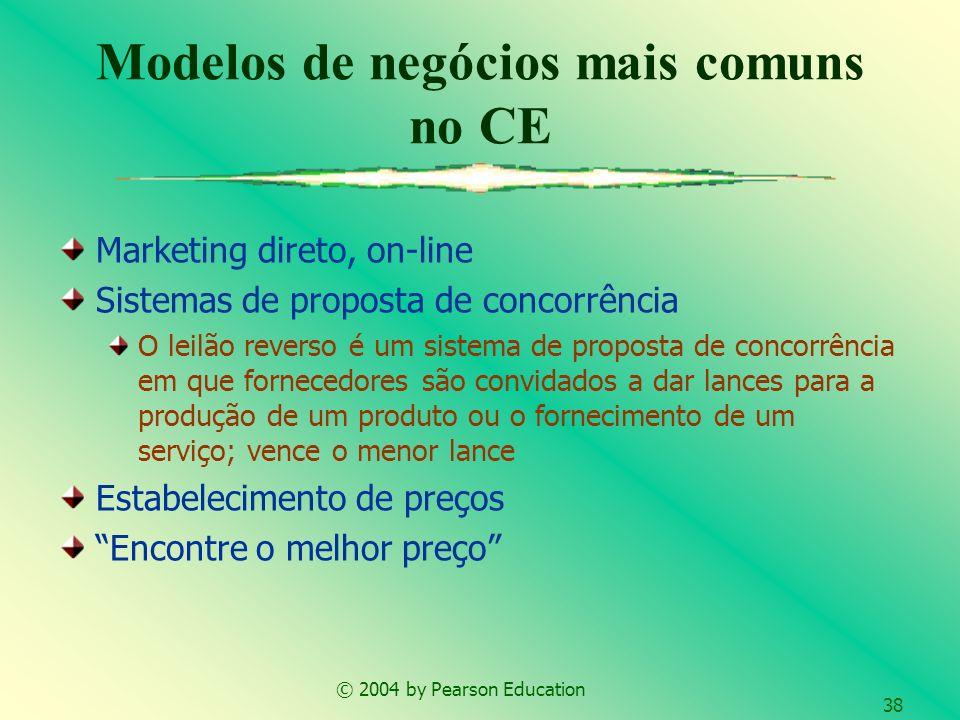 © 2004 by Pearson Education 38 Modelos de negócios mais comuns no CE Marketing direto, on-line Sistemas de proposta de concorrência O leilão reverso é