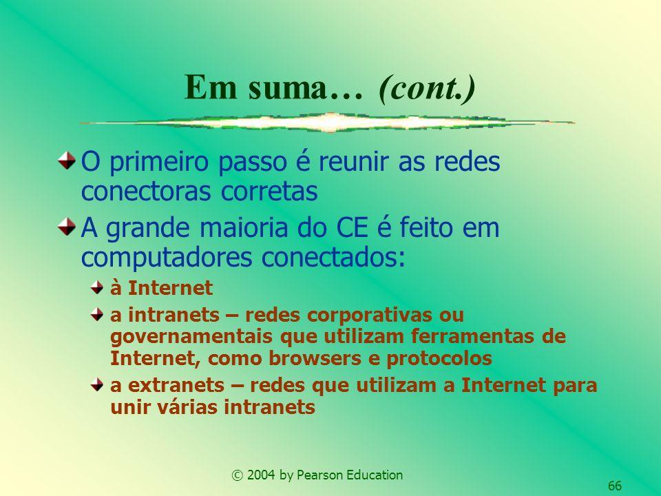 © 2004 by Pearson Education 66 Em suma… (cont.) O primeiro passo é reunir as redes conectoras corretas A grande maioria do CE é feito em computadores