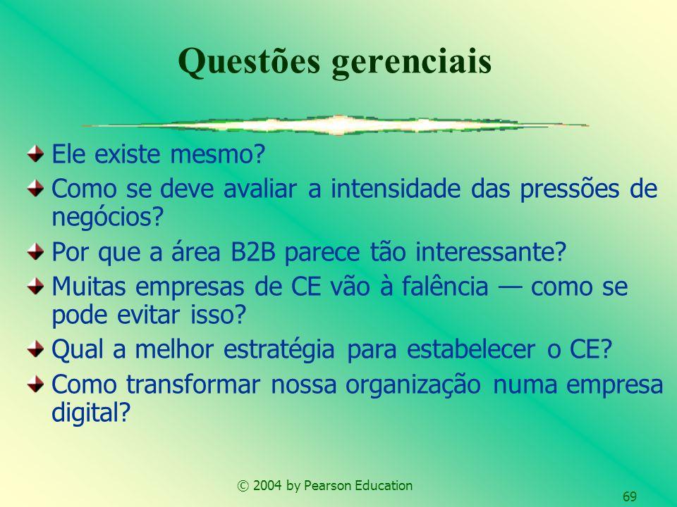 © 2004 by Pearson Education 69 Ele existe mesmo? Como se deve avaliar a intensidade das pressões de negócios? Por que a área B2B parece tão interessan