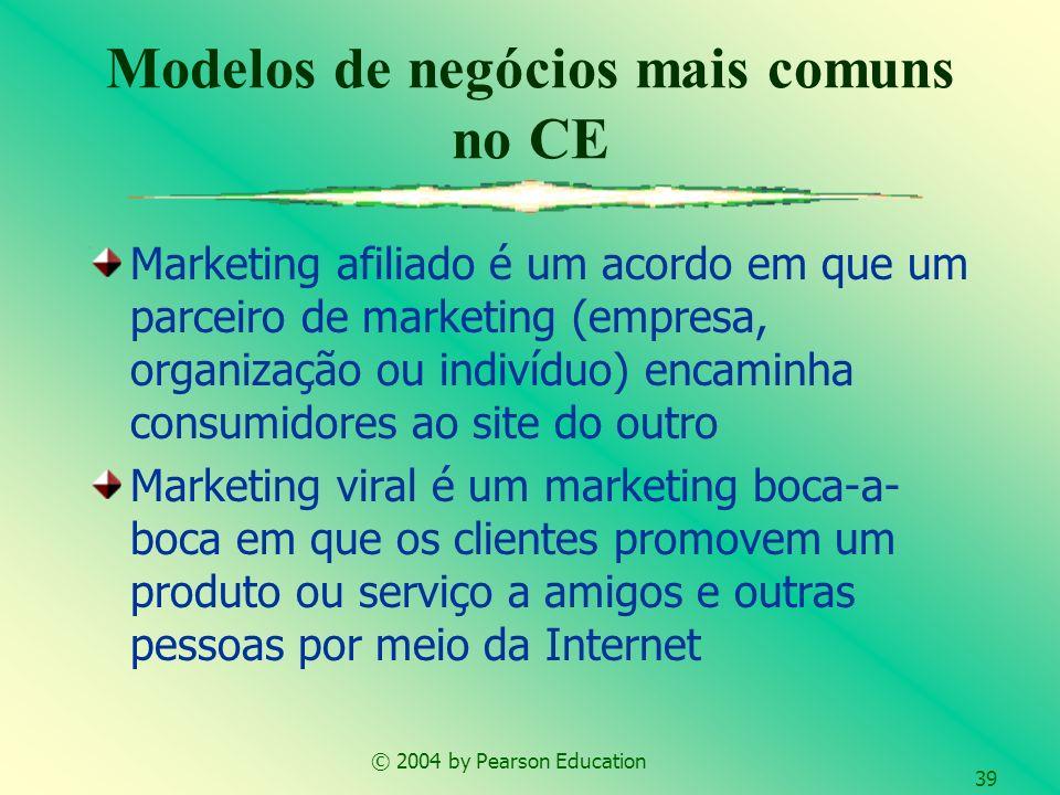 © 2004 by Pearson Education 39 Marketing afiliado é um acordo em que um parceiro de marketing (empresa, organização ou indivíduo) encaminha consumidor