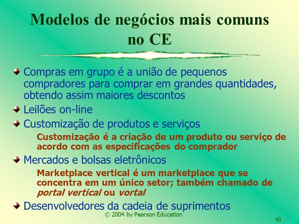 © 2004 by Pearson Education 40 Compras em grupo é a união de pequenos compradores para comprar em grandes quantidades, obtendo assim maiores descontos