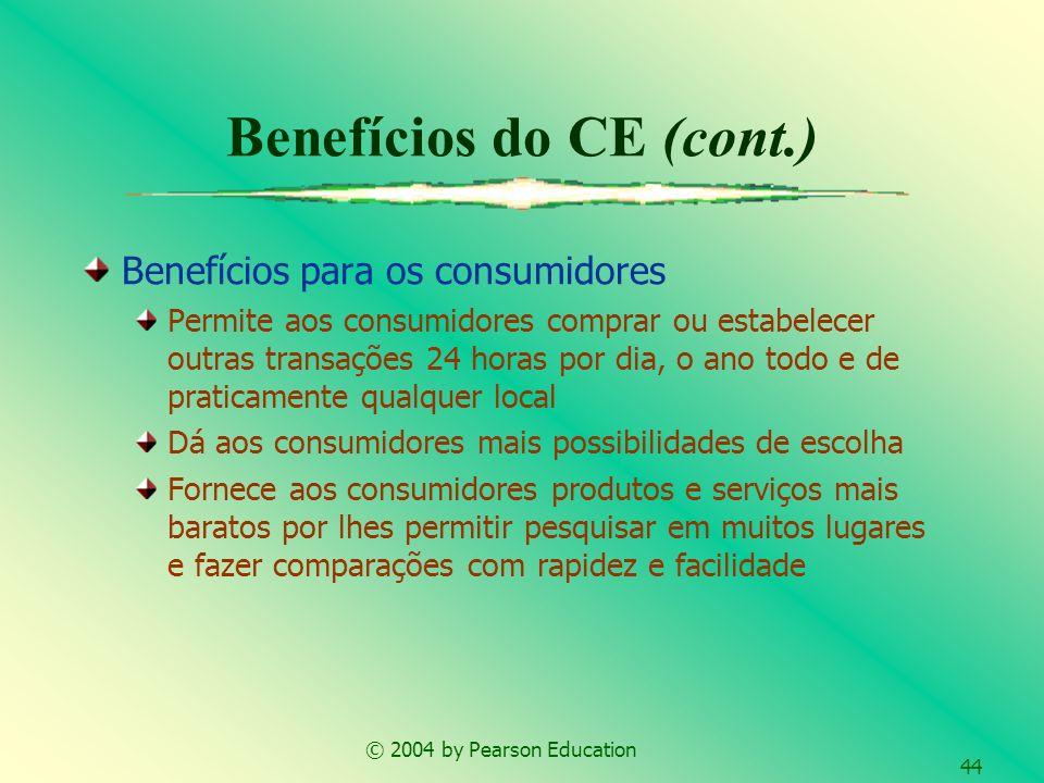 © 2004 by Pearson Education 44 Benefícios para os consumidores Permite aos consumidores comprar ou estabelecer outras transações 24 horas por dia, o a