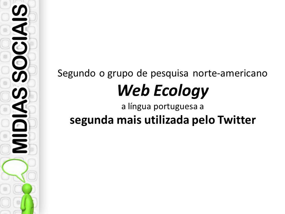 Segundo o grupo de pesquisa norte-americano Web Ecology a língua portuguesa a segunda mais utilizada pelo Twitter