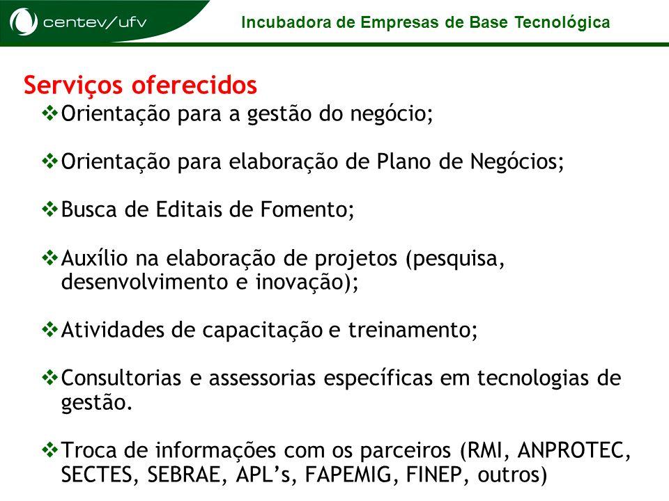 Incubadora de Empresas de Base Tecnológica Serviços oferecidos Orientação para a gestão do negócio; Orientação para elaboração de Plano de Negócios; B