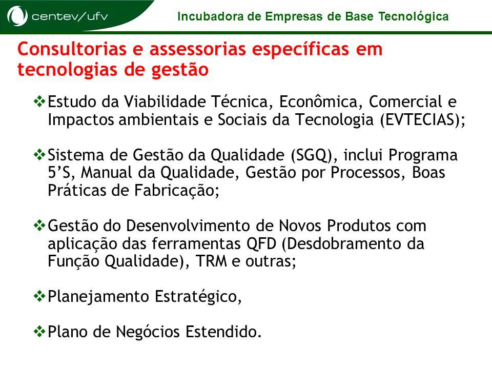 Incubadora de Empresas de Base Tecnológica Consultorias e assessorias específicas em tecnologias de gestão Estudo da Viabilidade Técnica, Econômica, C