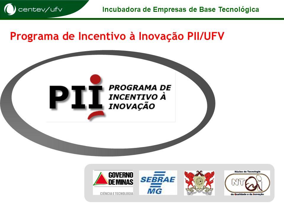 Incubadora de Empresas de Base Tecnológica Programa de Incentivo à Inovação PII/UFV
