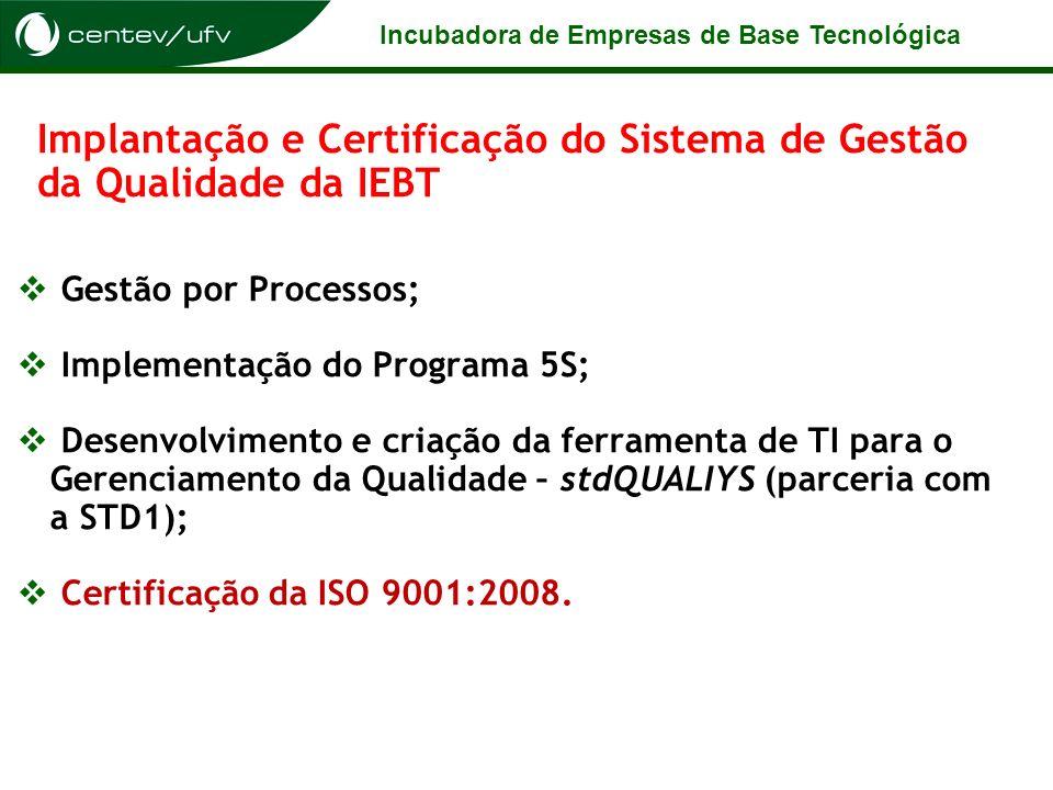 Incubadora de Empresas de Base Tecnológica Implantação e Certificação do Sistema de Gestão da Qualidade da IEBT Gestão por Processos; Implementação do