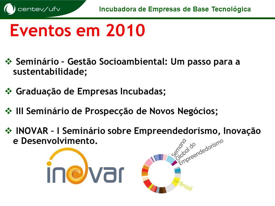 Incubadora de Empresas de Base Tecnológica Eventos em 2010 Seminário – Gestão Socioambiental: Um passo para a sustentabilidade; Graduação de Empresas