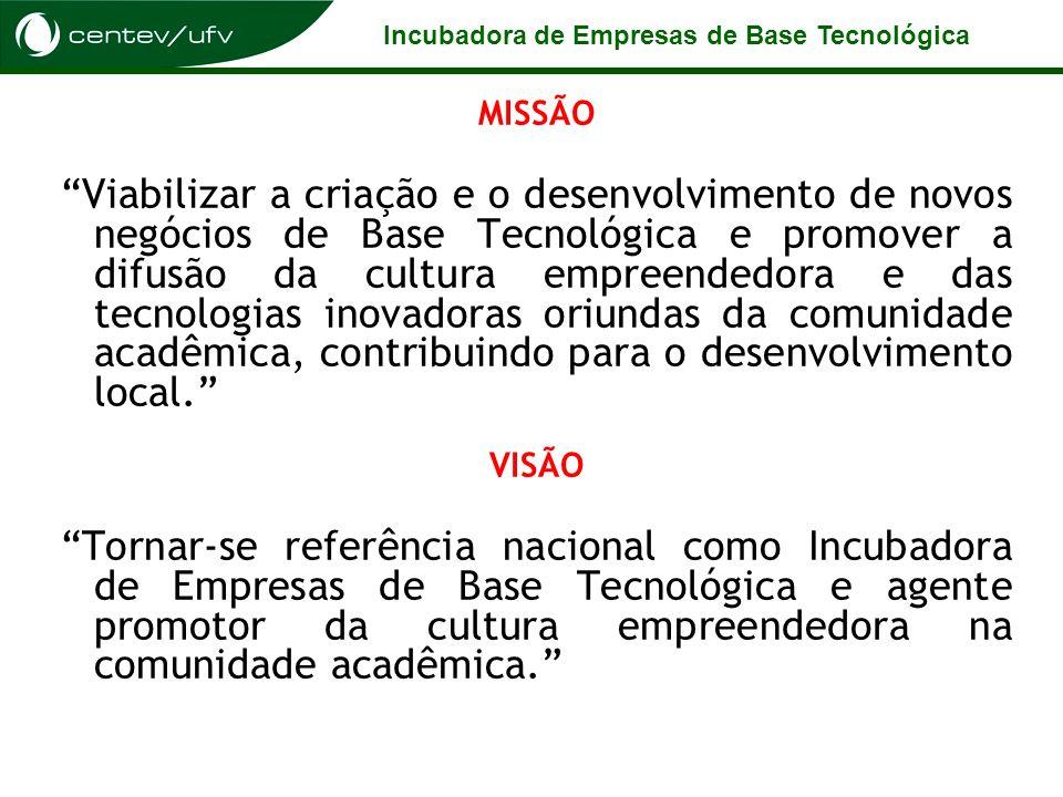 Incubadora de Empresas de Base Tecnológica MISSÃO Viabilizar a criação e o desenvolvimento de novos negócios de Base Tecnológica e promover a difusão