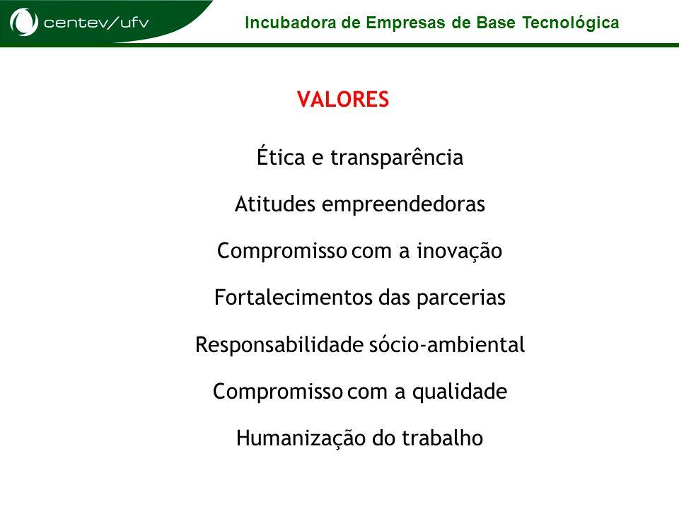 Incubadora de Empresas de Base Tecnológica VALORES Ética e transparência Atitudes empreendedoras Compromisso com a inovação Fortalecimentos das parcer