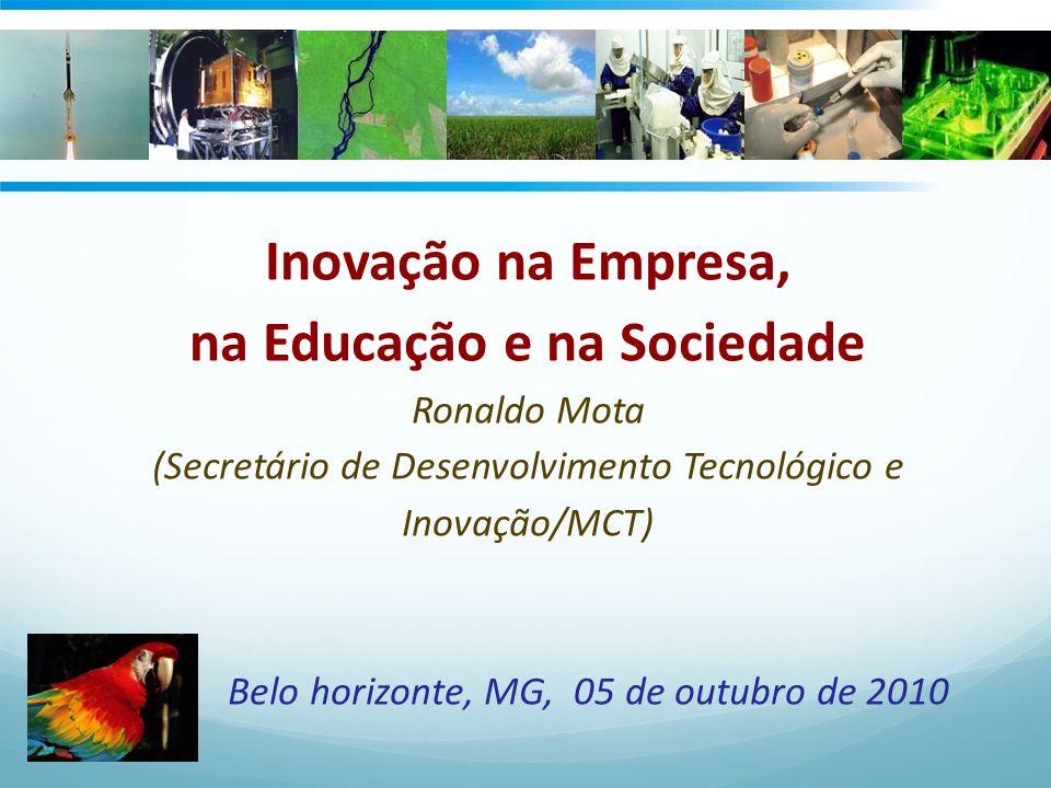 Inovação na Empresa, na Educação e na Sociedade Ronaldo Mota (Secretário de Desenvolvimento Tecnológico e Inovação/MCT) Belo horizonte, MG, 05 de outu