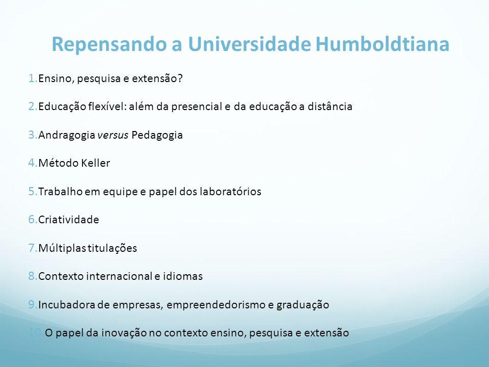 Repensando a Universidade Humboldtiana 1. Ensino, pesquisa e extensão? 2. Educação flexível: além da presencial e da educação a distância 3. Andragogi