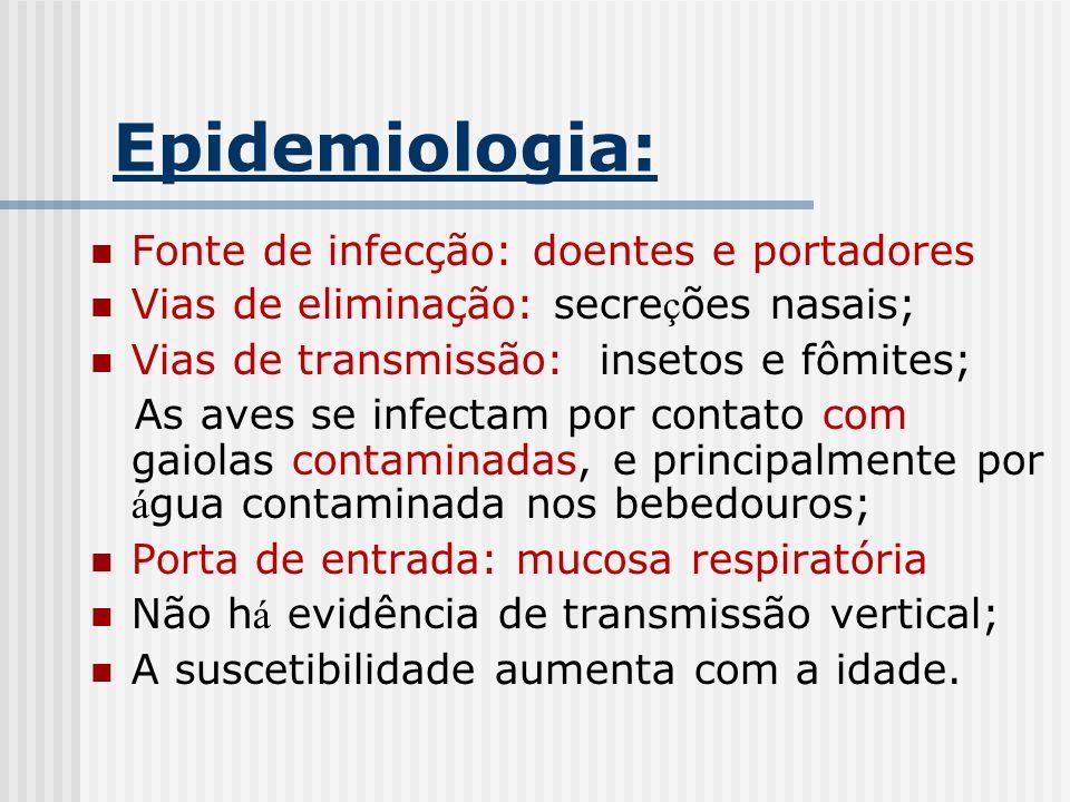 Epidemiologia: Fonte de infecção: doentes e portadores Vias de eliminação: secre ç ões nasais; Vias de transmissão: insetos e fômites; As aves se infe