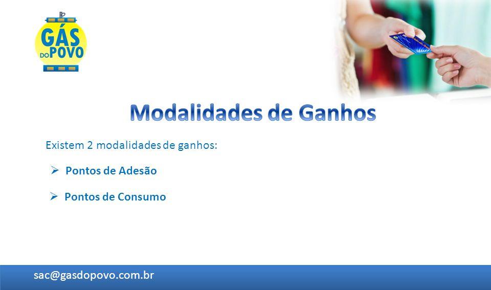 Existem 2 modalidades de ganhos: Pontos de Adesão sac@gasdopovo.com.br Pontos de Consumo