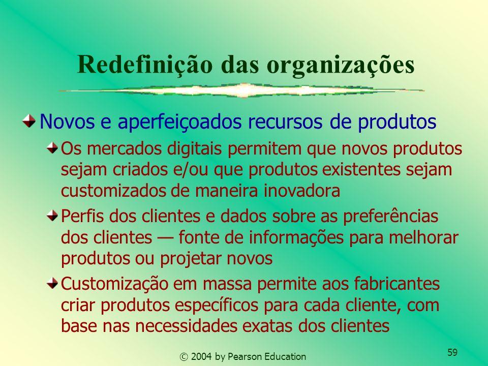 59 © 2004 by Pearson Education Redefinição das organizações Novos e aperfeiçoados recursos de produtos Os mercados digitais permitem que novos produto