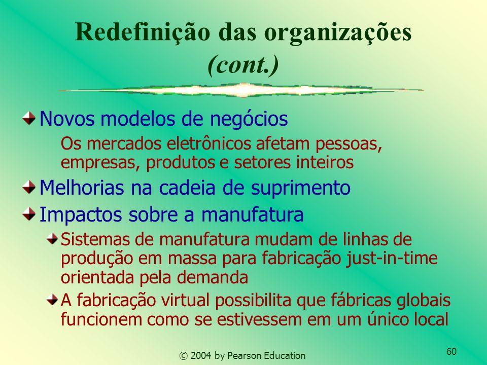 60 © 2004 by Pearson Education Redefinição das organizações (cont.) Novos modelos de negócios Os mercados eletrônicos afetam pessoas, empresas, produt