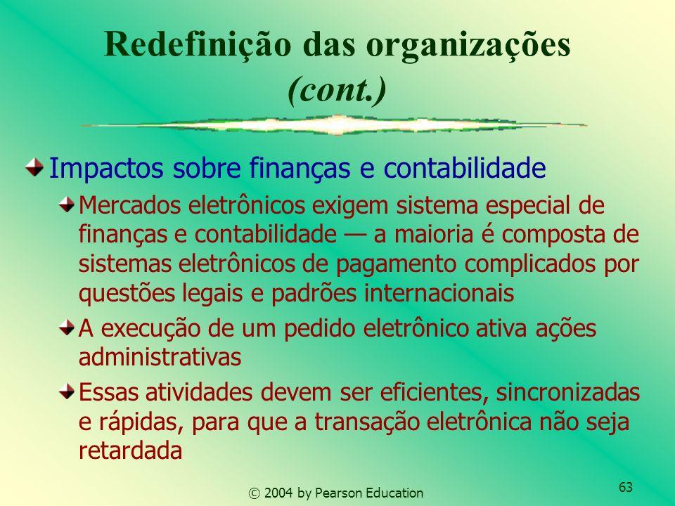 63 © 2004 by Pearson Education Impactos sobre finanças e contabilidade Mercados eletrônicos exigem sistema especial de finanças e contabilidade a maio