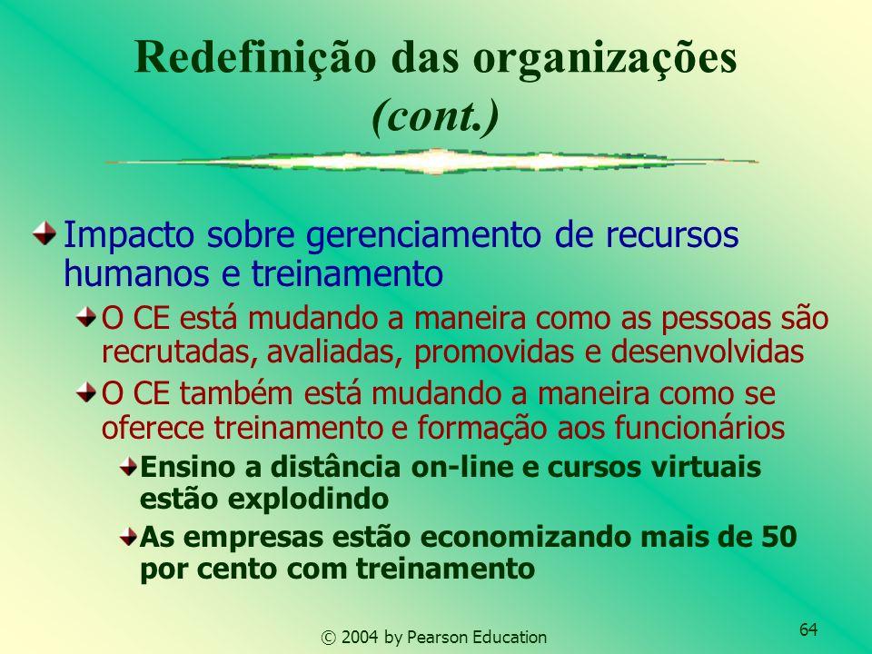 64 © 2004 by Pearson Education Impacto sobre gerenciamento de recursos humanos e treinamento O CE está mudando a maneira como as pessoas são recrutada