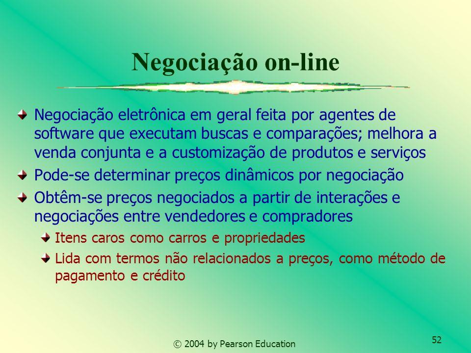 52 © 2004 by Pearson Education Negociação on-line Negociação eletrônica em geral feita por agentes de software que executam buscas e comparações; melh