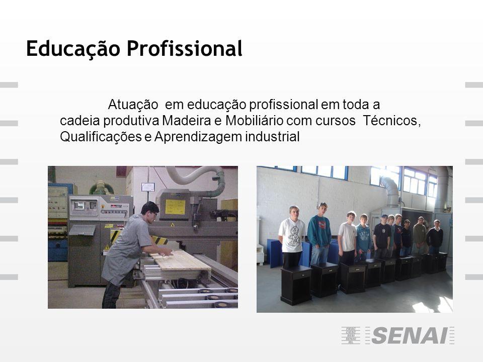 Educação Profissional Atuação em educação profissional em toda a cadeia produtiva Madeira e Mobiliário com cursos Técnicos, Qualificações e Aprendizag