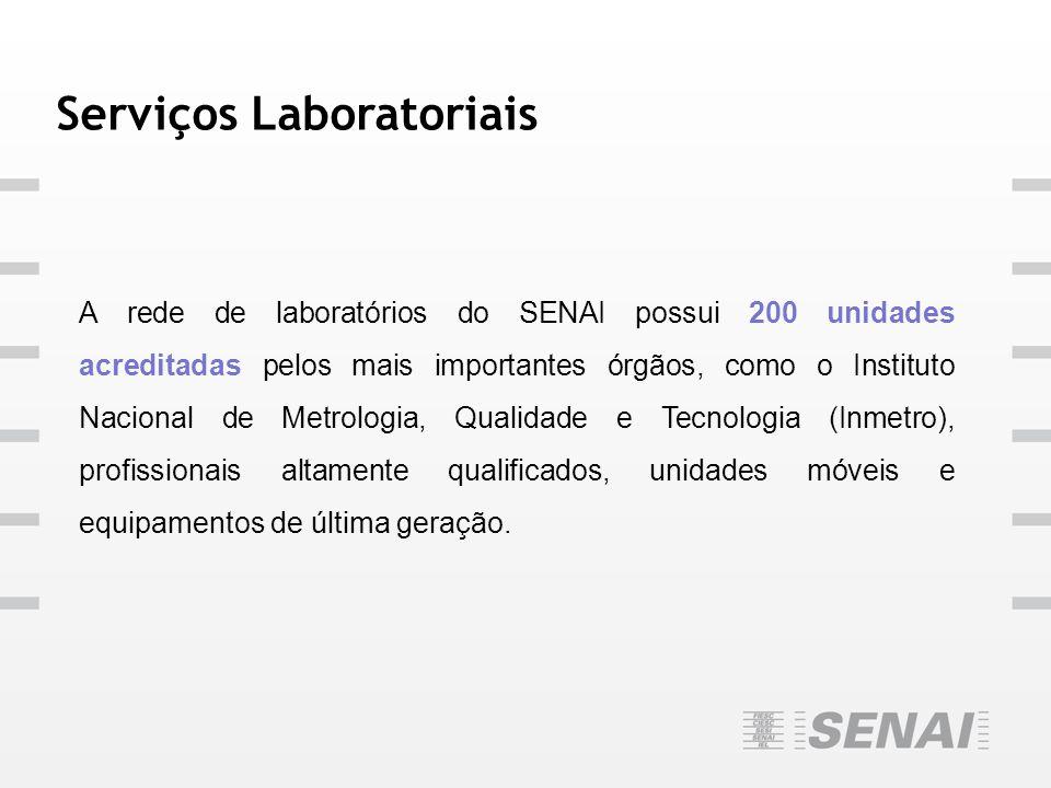 Serviços Laboratoriais A rede de laboratórios do SENAI possui 200 unidades acreditadas pelos mais importantes órgãos, como o Instituto Nacional de Met