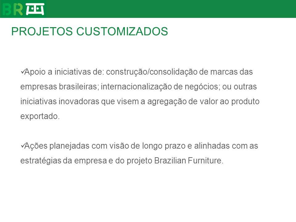 PROJETOS CUSTOMIZADOS Apoio a iniciativas de: construção/consolidação de marcas das empresas brasileiras; internacionalização de negócios; ou outras i