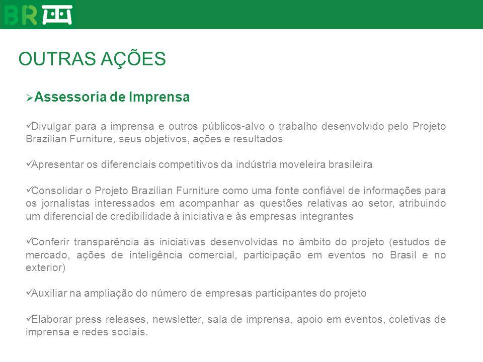 Assessoria de Imprensa Divulgar para a imprensa e outros públicos-alvo o trabalho desenvolvido pelo Projeto Brazilian Furniture, seus objetivos, ações