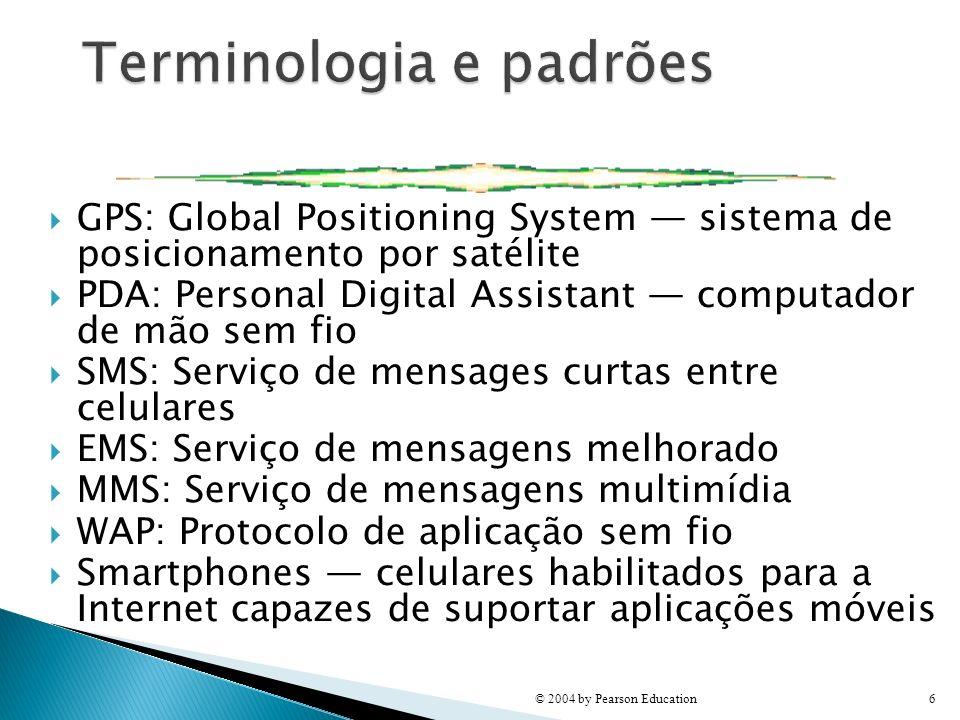 GPS: Global Positioning System sistema de posicionamento por satélite PDA: Personal Digital Assistant computador de mão sem fio SMS: Serviço de mensag