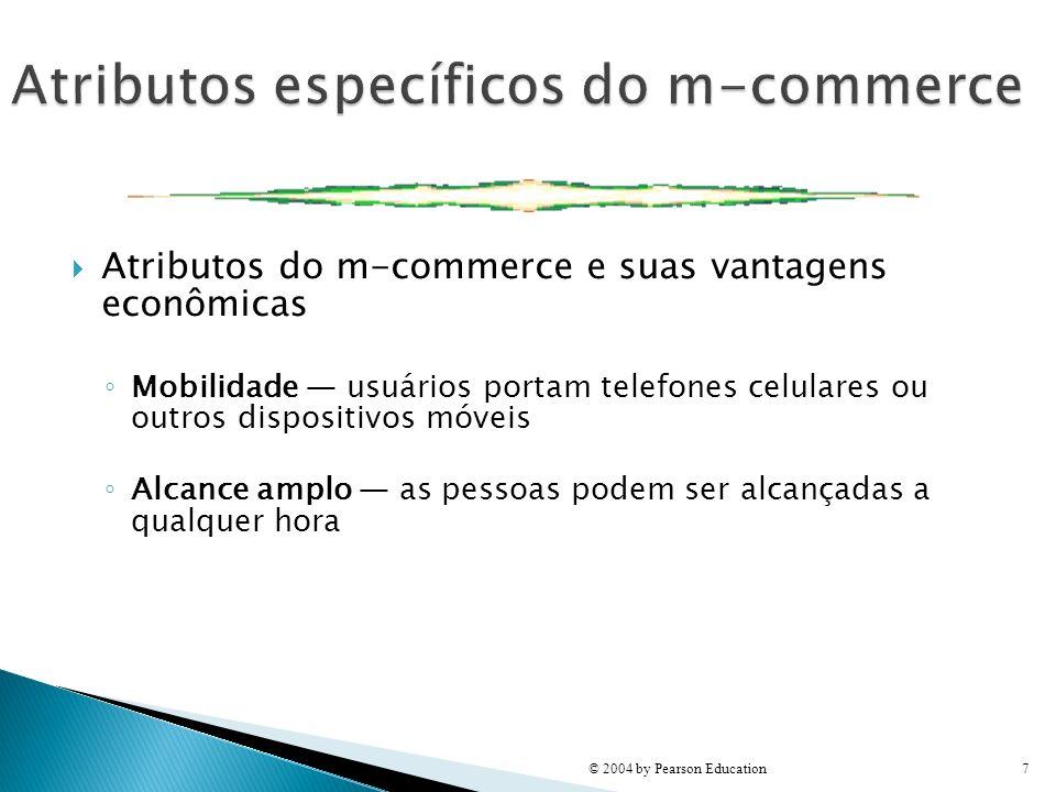 Atributos do m-commerce e suas vantagens econômicas Mobilidade usuários portam telefones celulares ou outros dispositivos móveis Alcance amplo as pess