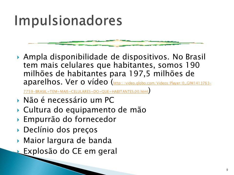Ampla disponibilidade de dispositivos. No Brasil tem mais celulares que habitantes, somos 190 milhões de habitantes para 197,5 milhões de aparelhos. V