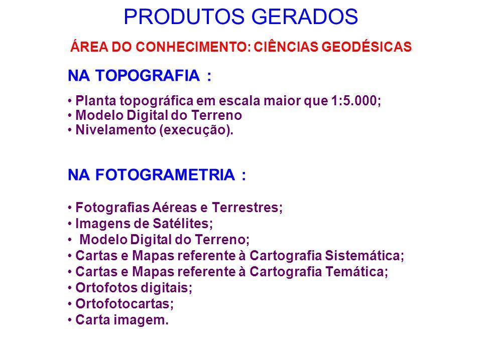 PRODUTOS GERADOS NA TOPOGRAFIA : Planta topográfica em escala maior que 1:5.000; Modelo Digital do Terreno Nivelamento (execução). NA FOTOGRAMETRIA :