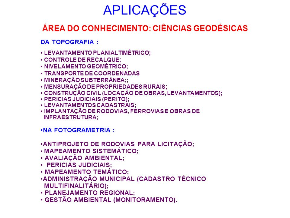 APLICAÇÕES DA TOPOGRAFIA : LEVANTAMENTO PLANIALTIMÉTRICO; CONTROLE DE RECALQUE; NIVELAMENTO GEOMÉTRICO; TRANSPORTE DE COORDENADAS MINERAÇÃO SUBTERRÂNE