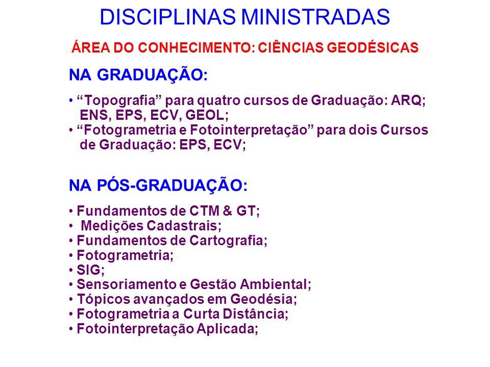 DISCIPLINAS MINISTRADAS NA GRADUAÇÃO: Topografia para quatro cursos de Graduação: ARQ; ENS, EPS, ECV, GEOL; Fotogrametria e Fotointerpretação para doi