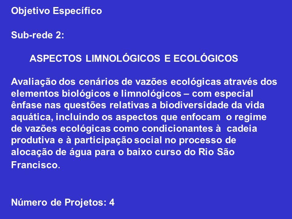 Objetivo Específico Sub-rede 2: ASPECTOS LIMNOLÓGICOS E ECOLÓGICOS Avaliação dos cenários de vazões ecológicas através dos elementos biológicos e limn