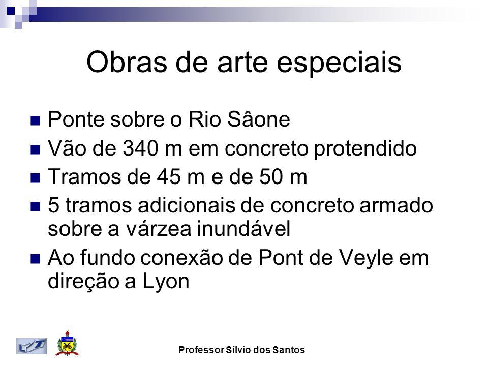 Obras de arte especiais Ponte sobre o Rio Sâone Vão de 340 m em concreto protendido Tramos de 45 m e de 50 m 5 tramos adicionais de concreto armado sobre a várzea inundável Ao fundo conexão de Pont de Veyle em direção a Lyon
