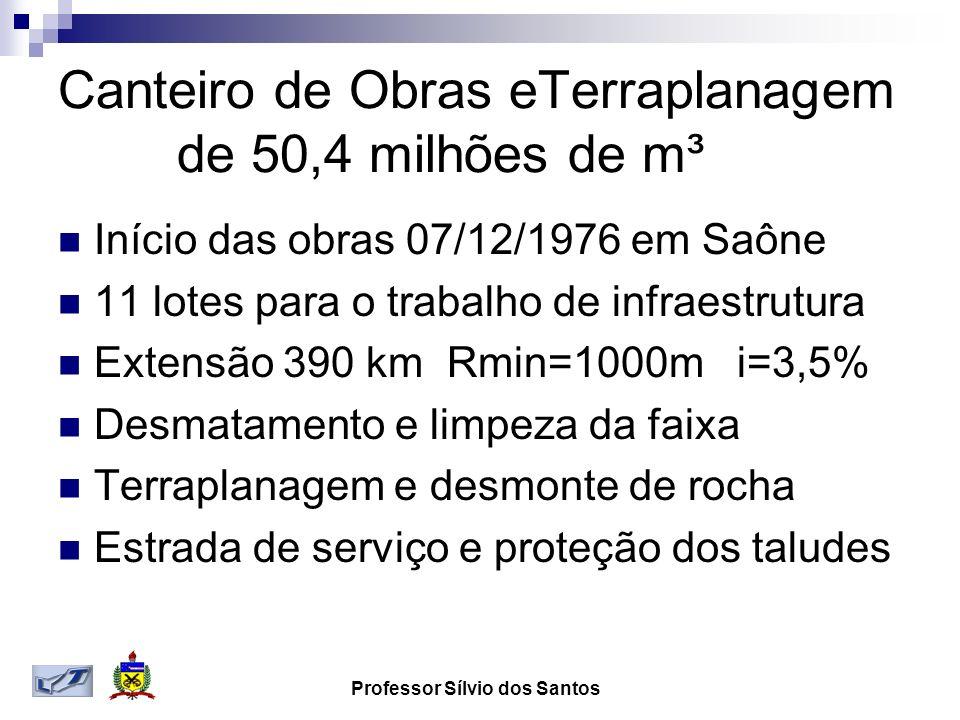 Professor Sílvio dos Santos Canteiro de Obras eTerraplanagem de 50,4 milhões de m³ Início das obras 07/12/1976 em Saône 11 lotes para o trabalho de in
