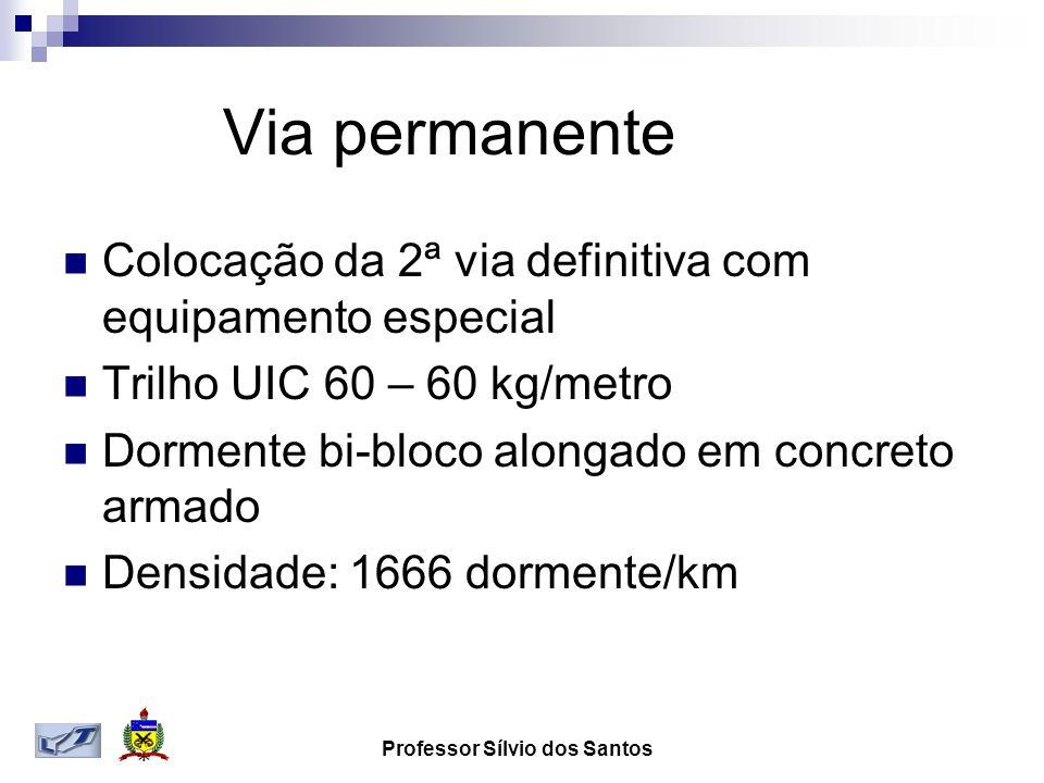Via permanente Colocação da 2ª via definitiva com equipamento especial Trilho UIC 60 – 60 kg/metro Dormente bi-bloco alongado em concreto armado Densidade: 1666 dormente/km