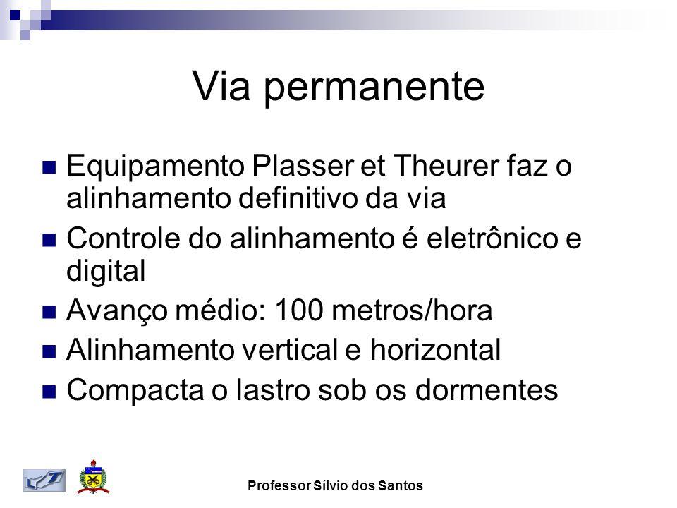 Via permanente Equipamento Plasser et Theurer faz o alinhamento definitivo da via Controle do alinhamento é eletrônico e digital Avanço médio: 100 met