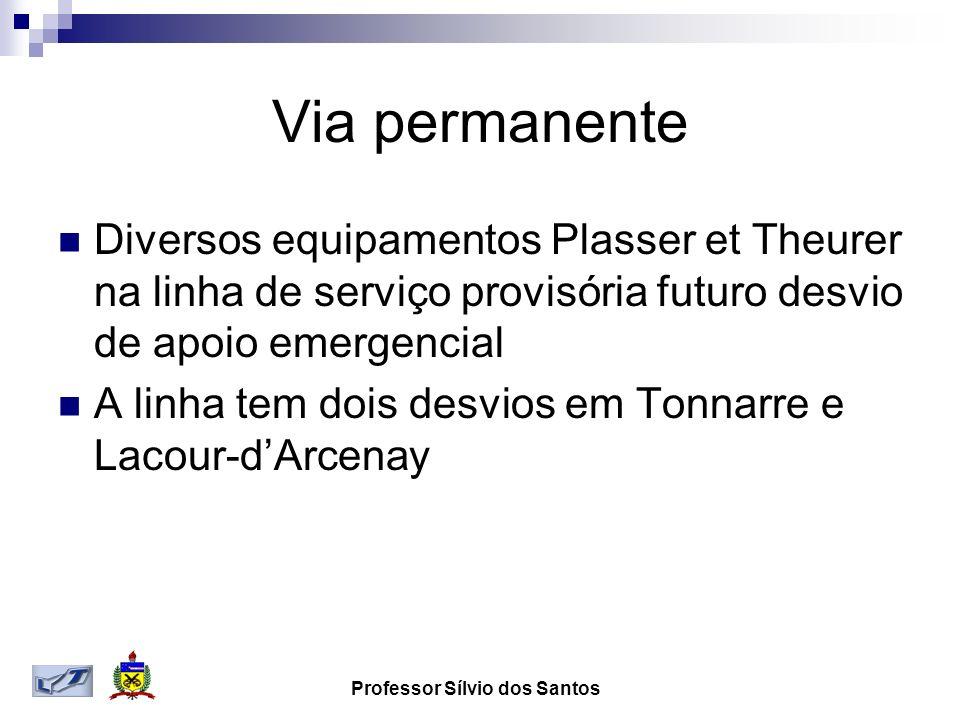 Via permanente Diversos equipamentos Plasser et Theurer na linha de serviço provisória futuro desvio de apoio emergencial A linha tem dois desvios em
